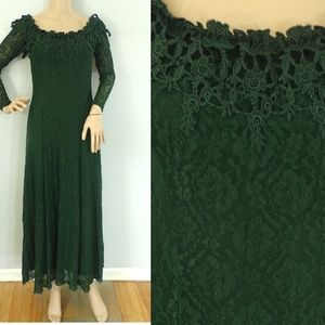 Vintage Florencia Fiume Dress 1980s XS/Small Green